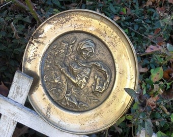 Vintage Decorative Brass Wall Plate 1970s