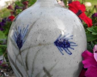 Vintage Grey and Blue Wheat Design Vase