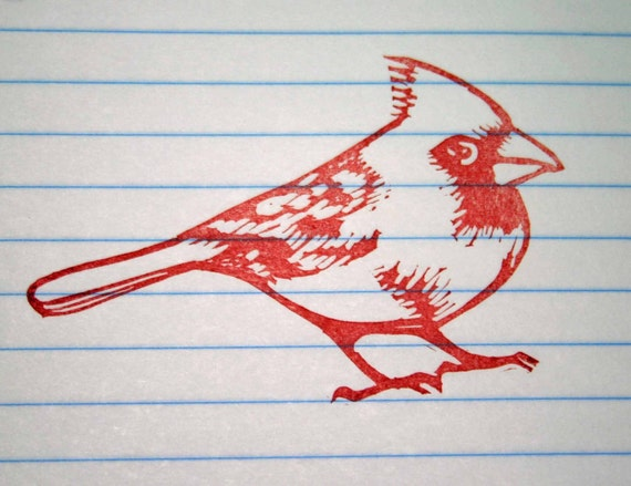 Hand Carved Cardinal Rubber Stamp