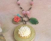 Floral Locket Necklace Dahlia Flower Charm Necklace Shabby Chic - Paris Flea Market