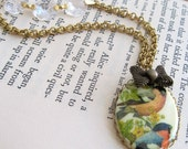 Necklace. Vintage Jewels, Nature, Bird Cameo, Vintage Crystals, Long Necklace. Natures Flight.