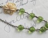 Necklace. Jewelry, Vintage Flower, Sakura, Spring, Glass Beads, Antique Brass, Green, Cream, Ivory. Josslyn.