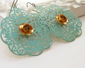 Earrings. Jewelry, Vintage Brass Rose, Swarovski Crystal, Lace Filigree, Turquoise, Verdigris. Laurel. Vintage inspired jewelry by Lauren Blythe Designs Jewelry on Etsy.
