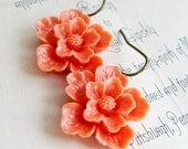 Coral Flower Earrings Tangerine Tango Earrings Vintage Style Earrings Sakura Flower Earrings Summer Wedding Orange Earrings - Sweet Blossom
