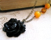 Black Flower Necklace Rose Necklace Pumpkin Beaded Necklace Victorian Necklace Gothic Style Halloween - Rhiannon