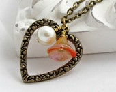 Heart Necklace Rustic Charm Shabby Chic Glass Flowers Harvest Peach - Heart Song