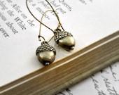 CIJ 15% Off,  Acorn Earrings, Dangle Earrings, Acorn Charms, Rustic, Nature, Woodland, Gift Under 25 - Harvest Nut