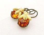 Bee Earrings Topaz Earrings Amber Earrings Rhinestone Jewelry Vintage Glass Jewels Honey Bee - Sweet Marmalade