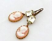 Pink Cameo Earrings Rhinestone Earrings Silhouette Jewelry Romantic Valentine - La Femme