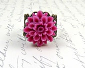 Pink Flower Ring, Cocktail Ring, Gift under 25, Fuschia Ring, Bridesmaid, Bright Colors, Stocking Stuffer - Sugar Plum Dreams