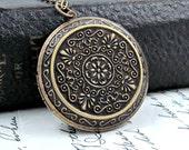 Large Locket Necklace Locket Pendant Bohemian Necklace Wedding Day Locket Photo Locket  Gift for Her
