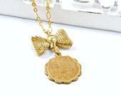 Fleur de Lis Necklace Paris Necklace Gold Charm Necklace Bow Necklace Romantic Jewelry French Necklace - Amelie