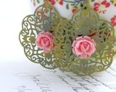 Pink and Green Filigree Earrings Lace Earrings Pink Rose Earrings Olive Green Jewelry Cottage Chic Bohemian Boho Shabby Chic - Juliet