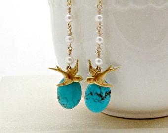Bird Earrings, Turquoise Earrings, Pearl Dangle Earrings, Nature, Woodland, Boho - Love Birds
