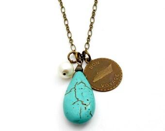 Turquoise Necklace, Travel Necklace, Bon Voyage Charm, World Travel, Airplane, Turquoise Pendant - Bon Voyage Necklace