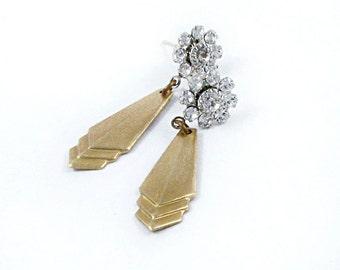 Art Deco Earrings Chevron Earrings Rhinestone Dangle Earrings Wedding Jewelry Silver and Gold
