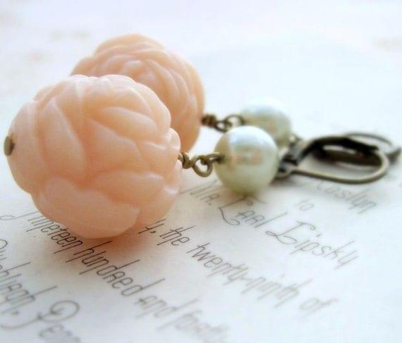 Pink Rose Earrings Peach Rose Earrings Pink Earrings Carved Roses Angelskin Roses Pearl Dangle Earrings Cottage Chic - My Fair Lady