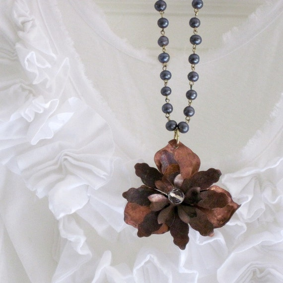 Vintage Rustic Flower Necklace Autumn Woodland Silver Glass Bead Chain - Cali