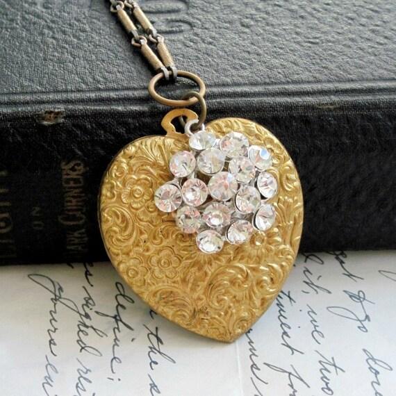 Vintage Heart Necklace Art Nouveau Style Brass Floral Heart Rhinestone Button Textured Brass Bar Chain - Emmaline