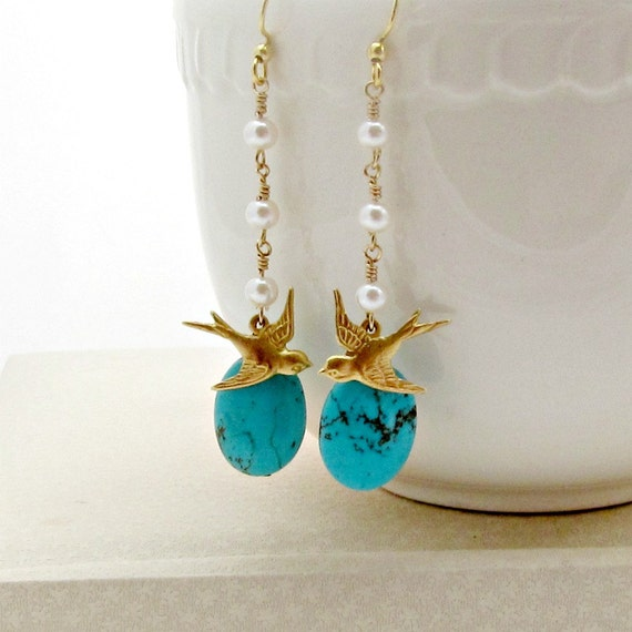 Bird Earrings, Turquoise Earrings, Pearl Dangle Earrings, Nature, Woodland, Boho - Love Birds
