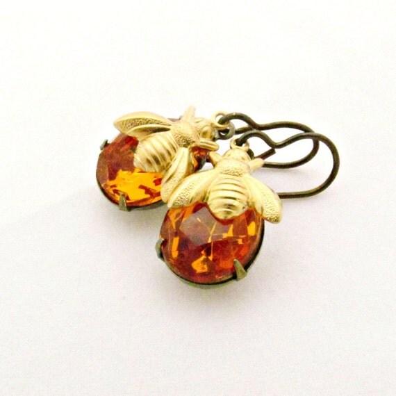 Bee Earrings Topaz Earrings Amber Earrings Rhinestone Jewelry Vintage Glass Jewels Honey Bee - Sweet Marmalade