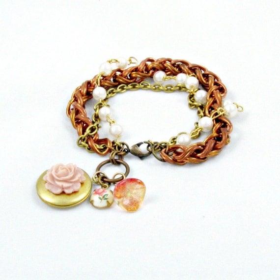 Charm Locket Bracelet Pink Flower Bracelet Vintage Chains Peach Cameo Charm Bracelet - Adorn Me