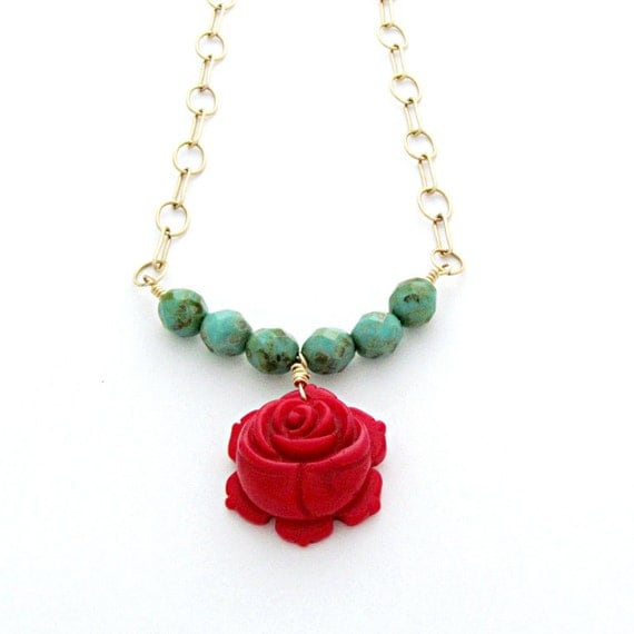 Red Rose Necklace Turquoise Beaded Jewelry Gold Filled Chain Statement Jewelry Southwest - Carina