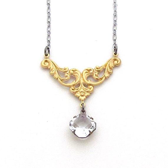 Art Deco Necklace Vintage Rhinestone Jewelry Victorian Statement Necklace Mid Century Modern Mixed Metals - Julia