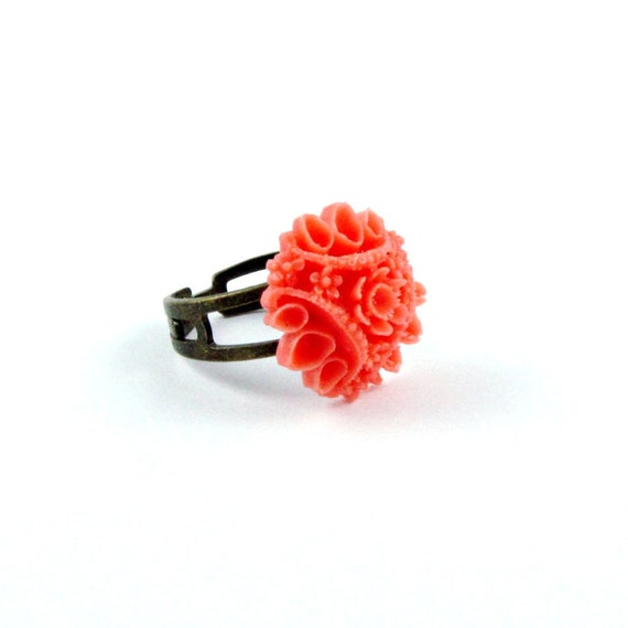 Coral Flower Ring Cocktail Ring Southwest Antique Brass Filigree Vintage Style Ring - Coral Sunset