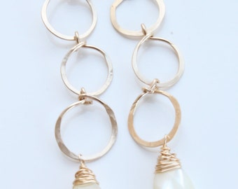 Triple gold hoop with faceted mother of pearl