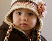 2T-4T Organic Crochet Earflap Beanie Cream, Brown and Pink, with Flower on a side. Very Cute and Soft.