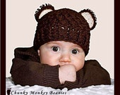 3-6 Months Chunky Monkey Crochet Flapper Beanie Chocolate Brown with Cream Ears. So Cute.