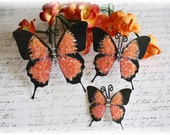 Orange Glass Butterflies for Scrapbooking, Cardmaking, Tag Art, Mini Album