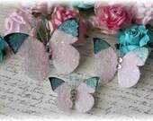 Enchanted Glitter Glass Butterflies for Scrapbooking,Cardmakinltered Art, Mixed Media, tag Art, Mini Album