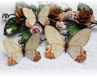 Vintage Glasswing Butterfly Die Cut  Embellishment for Scrapbooking, Cardmaking, Altered Art, Mixed Media, Mini Album