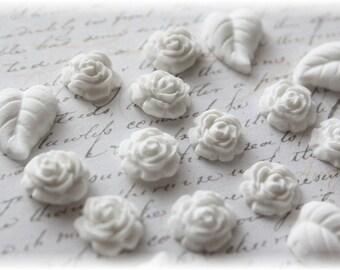 Mini Roses and Leaves Clay Embellishment Set