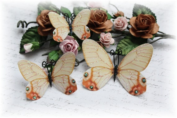 Vintage Glasswing Butterfly Embellishment for Scrapbooking, Cardmaking, Altered Art, Mixed Media, Mini Album