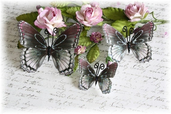 Dark Lavender Butterflies for Scrapbooking, Cardmaking, Tag Art, Mixed Media, Altered Art, Mini Albums