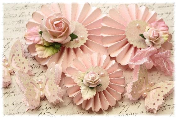 Handmade Shabby Chic Rosette Flowers with butterflies