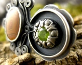 Seed Pod Sterling Silver ring Dryhead agate peridot