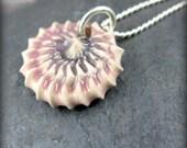 LAST CHANCE SALE Antique Mauve Ceramic Sea Anemone Necklace Sterlings Silver