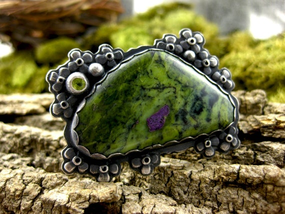 RESERVED FOR EILEEN - Swedish Meadow Ring - sterling silver Atlantisite and peridot