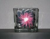 Hand Painted Pink Flower Block Tea Light Candle Holder