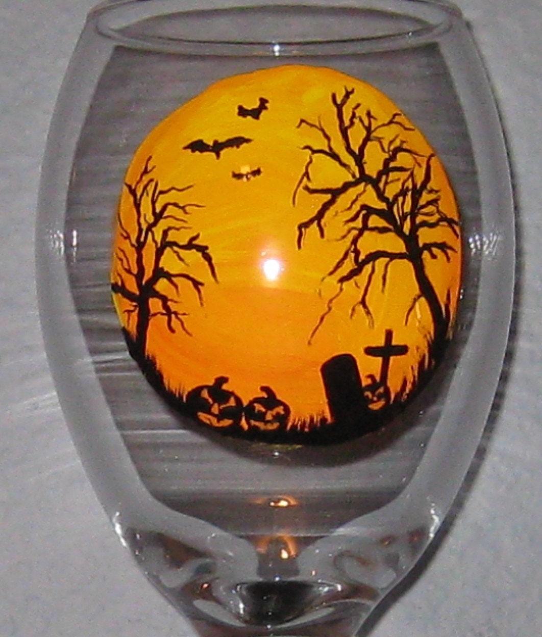 Halloween Scene Spooky Tree Bats Graves Hand Painted Wine