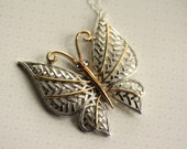 Butterfly Necklace with Thatched Gold and Silver Design, Vintage Pendant, Long Chain