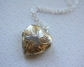 The Unique Sterling Silver and 14kt Gold Floral Heart Locket-VINTAGE