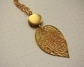 Leaf and Locket Necklace, Long Pendant Jewellery, Small Locket Jewelry, Long Shiny Chain, Unique Abstract Metal Feather