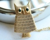 Modern Owl Locket Necklace, Long Chain, Large Pendant, Bird Necklace, Eco Friendly Jewelry, Art Deco Owl, Christmas Gift