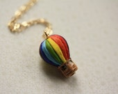 Hot Air Balloon Necklace on 14kt Gold Chain - Painted Ceramic