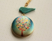 Colorful Tree Locket with Turquoise Blue Bird, Long Pendant Necklace, Turquoise Stone Pendant, Pendent Necklace